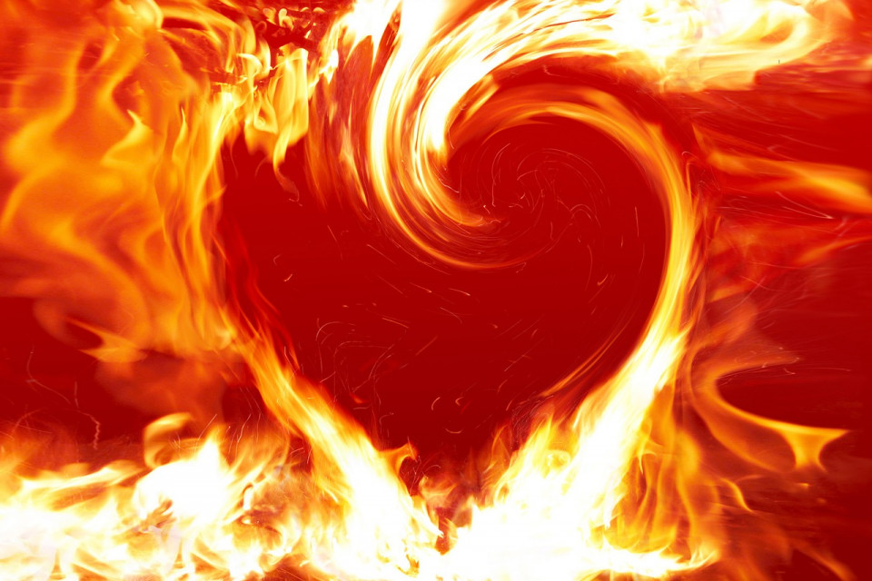 image of a heart on fire