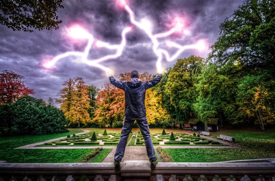 man with lightning