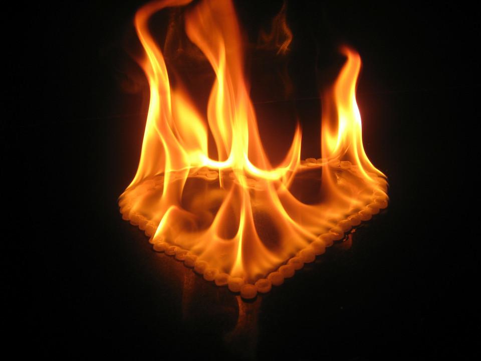 fire in shape of heart