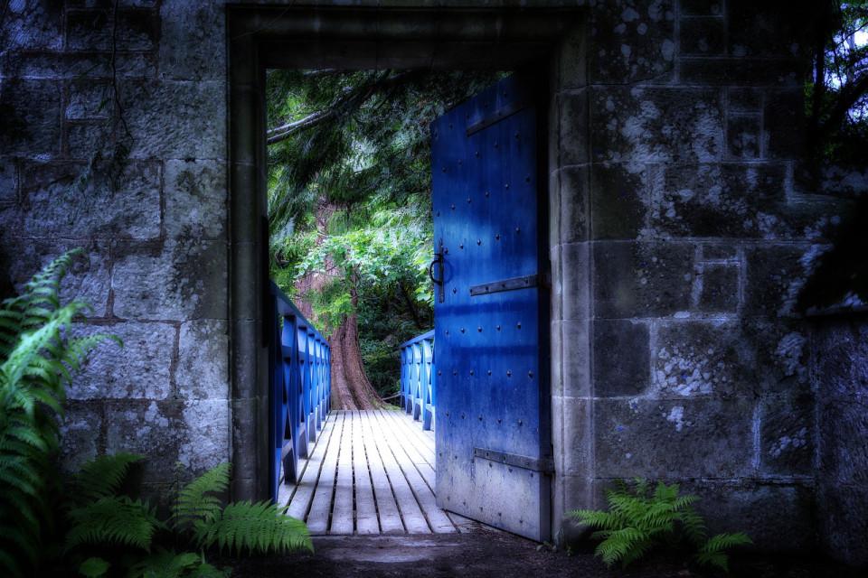 door into woods