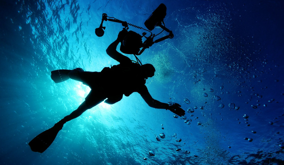 photo of scuba diver underwater