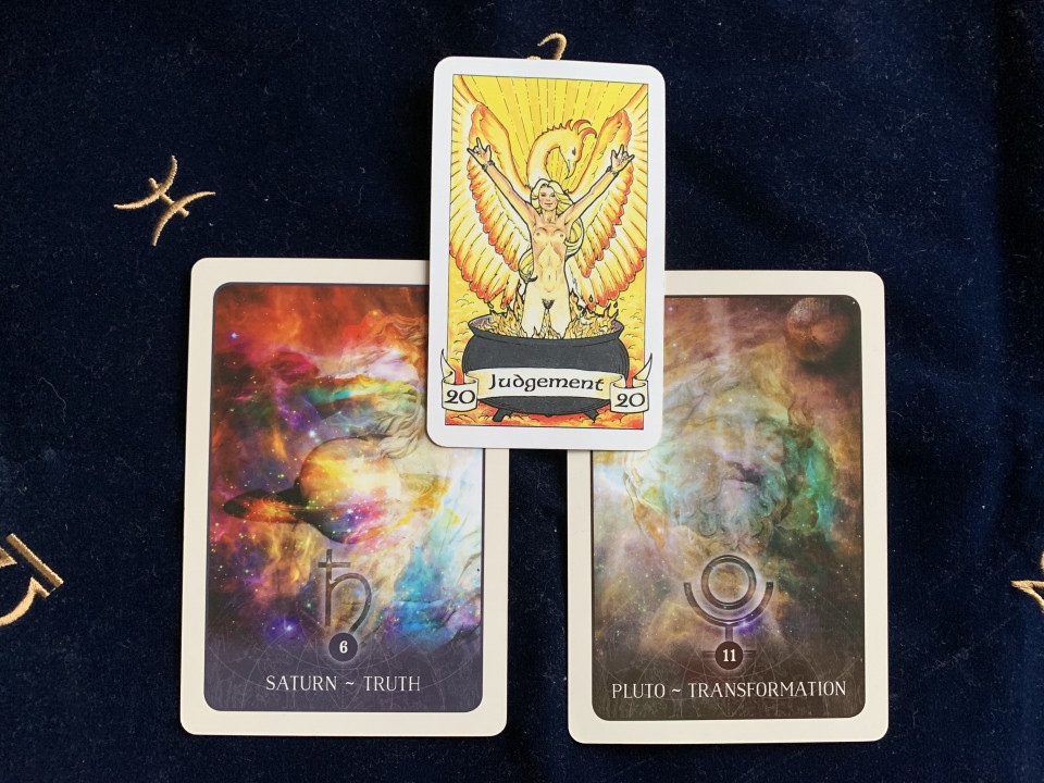 photo of the Judgment Tarot card and Black Moon Oracle cards for Saturn and Pluto