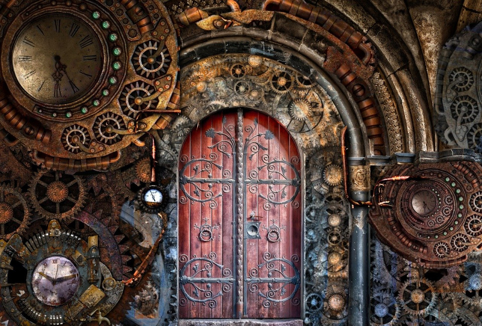 steampunk manipulated image of gears around a door