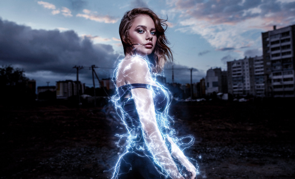 image of a woman with electrical energy outlining her body
