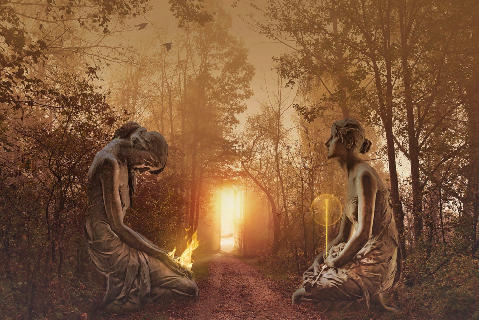 manipulated image of two female guardians kneeling at a forest gate Image by Enrique Meseguer from Pixabay