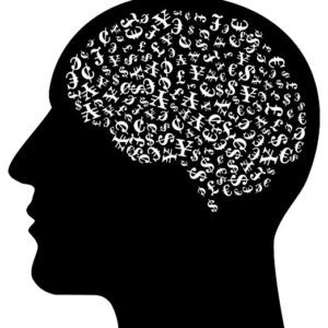 black silhouetted head with money symbols in the brain Image by Gordon Johnson from Pixabay