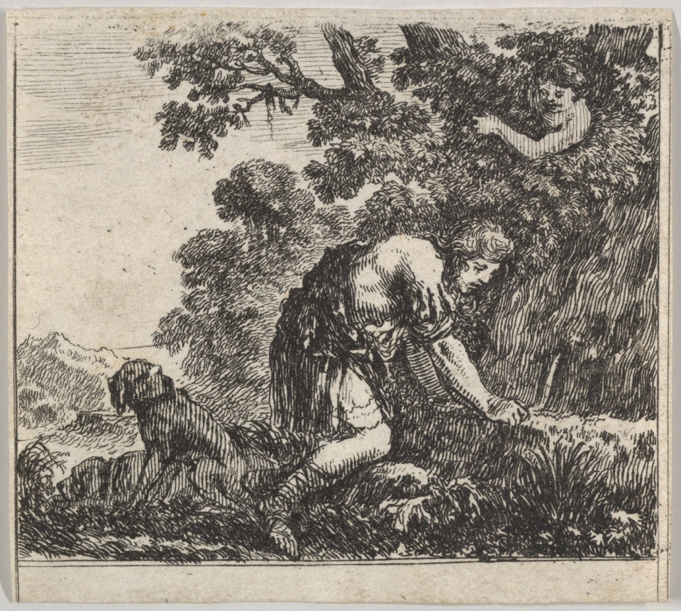 etching of Narcissus looking at water and a figure watching from above