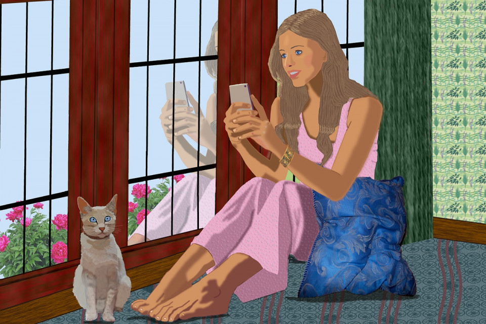 illustration of a woman inside looking at her cellphone with cat nearby
