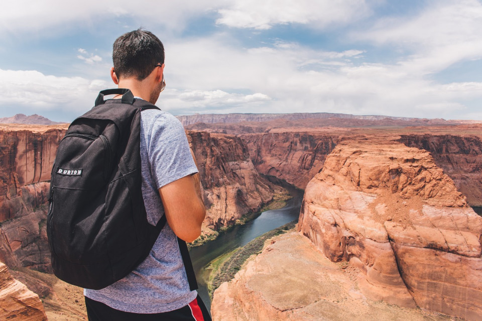 photo of man looking at a canyon Image by Pexels from Pixabay