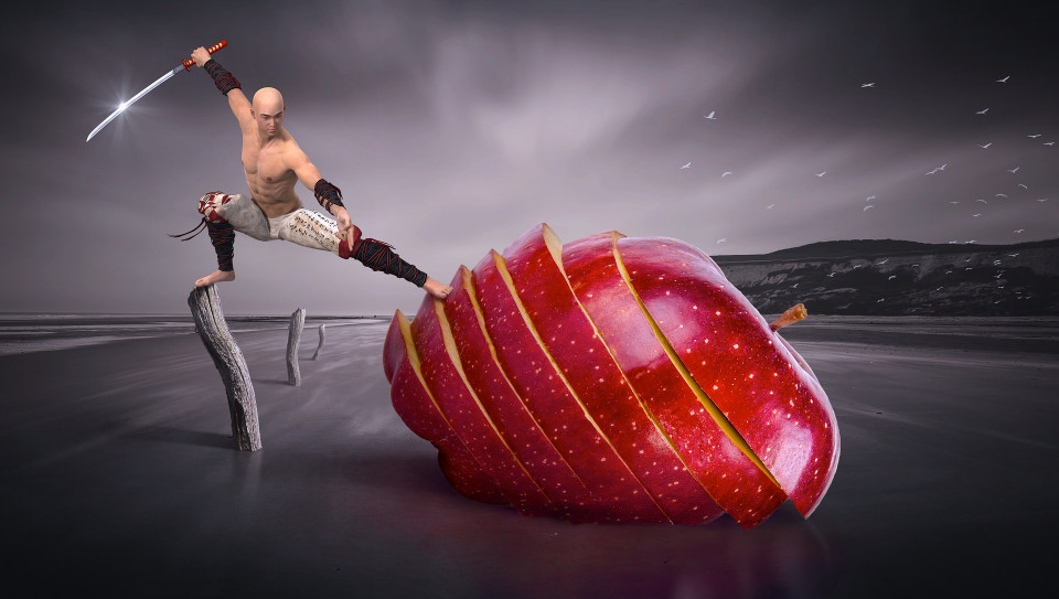 manipulated photo of a warrior attacking a spiral cut apple