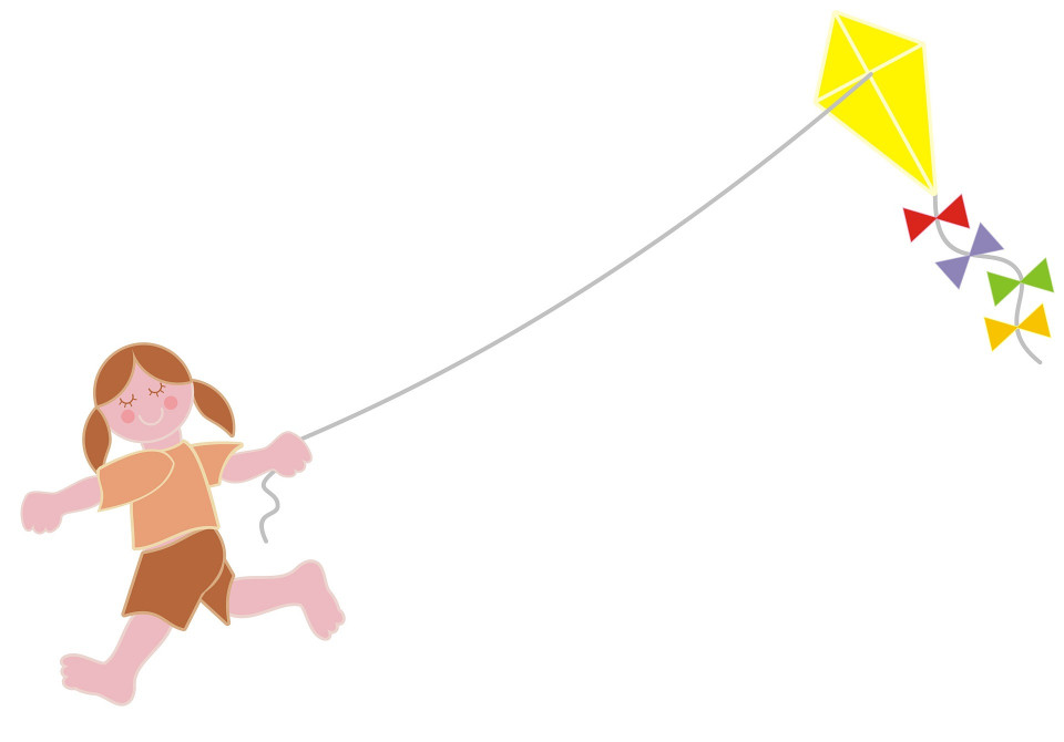 drawing of girl running with a kite in the sky Image by Merio from Pixabay