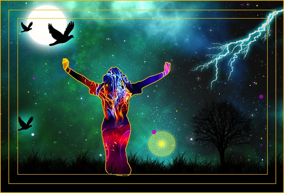 manipulared photo of woman summoning lightning Image by PapaOsmosis from Pixabay