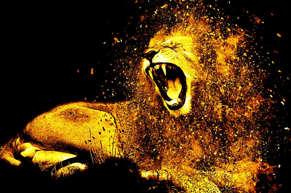 doctored photo of a roaring lion Image by Efes Kitap from Pixabay