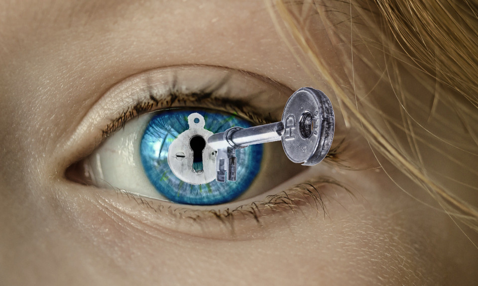 photo of key in woman's eye You can use the following text: Image by S. Hermann & F. Richter from Pixabay