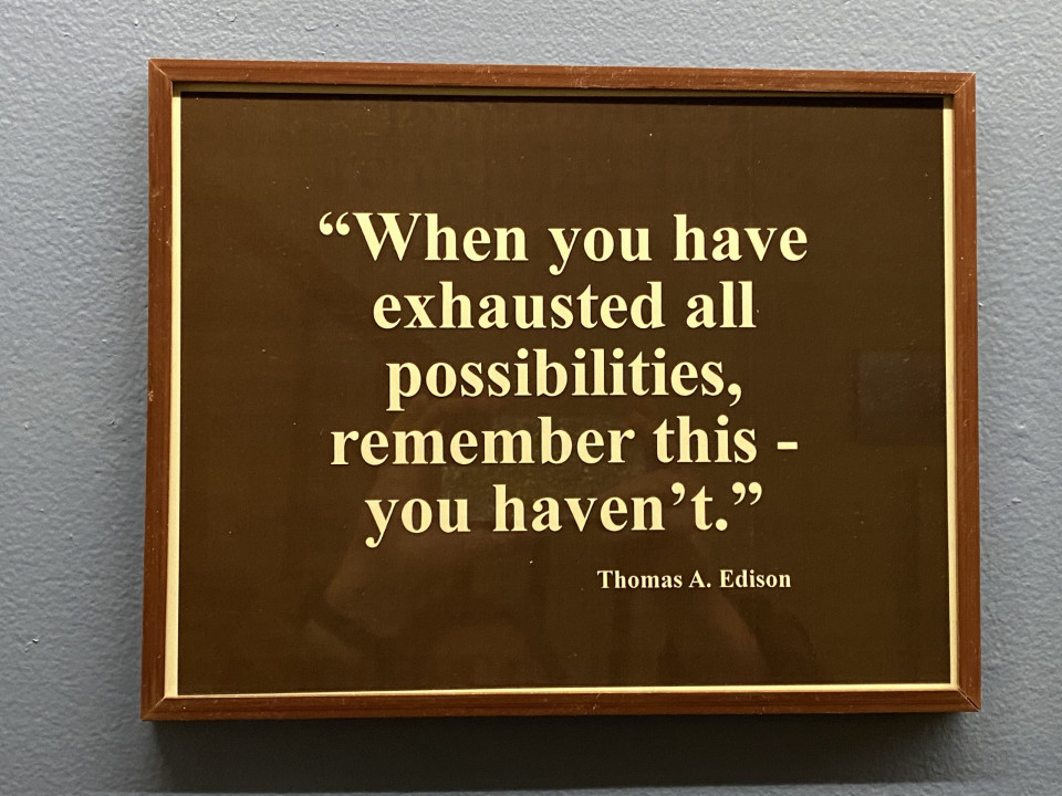 photo of sign with Edison quote