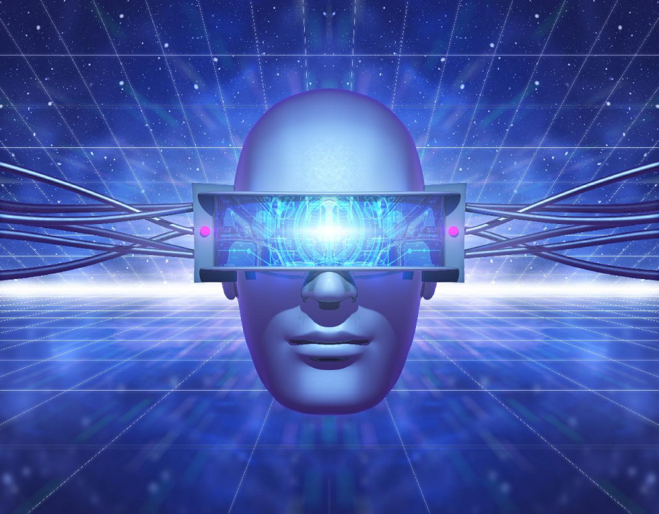 image of human head wearing virtual reality visor against blue and white network grid