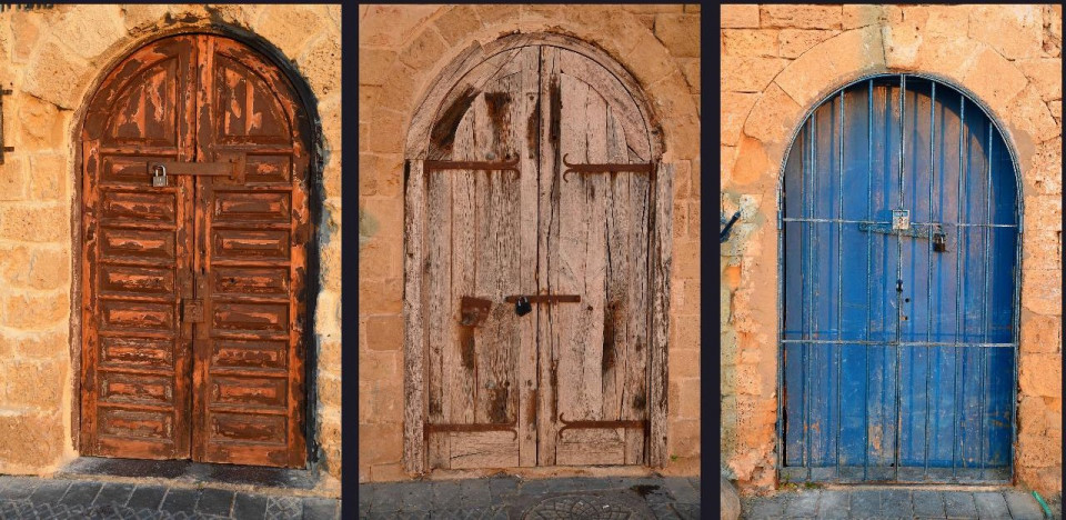 three color photos of arched doors set in stone walls, the first worn, red brown and with wide rectangular panels, the middle tan colored with brown streaks and dark brown metal braces and the right one a periwinkle blue wood door with metal bars in front