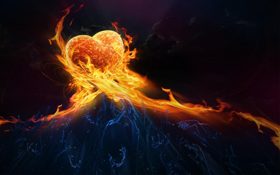 photo with black background and line of flame from the right side meeting a line of flame from the left and a golden three-d looking heart in the meeting of the lines, with whitish wisps of smoke below